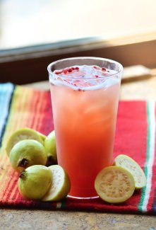 Guava Pink Peppercorn Margarita: a balance of heat, tart, and exotic fruit sweetness!